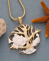 "Coral Pendant & Necklace Barbados Two Dollar Coin Handcut 1"" Diameter ( # 25 )"