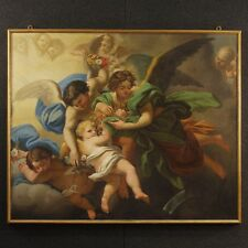 Dipinto antico olio su tela quadro angeli putti cornice dorata 800 XIX secolo