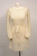 P423/48 Vintage Handmade Woolen Chunky Vanilla sexy Fitted Jumper Dress, UK 10