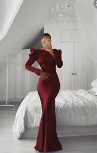 HOUSE OF CB 'Ottillie' Satin Backless Maxi Gown /Size S-US 4-6 Burgundy Red