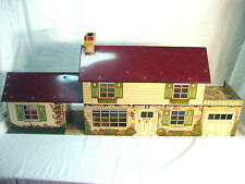 Vintage Large Tin Metal Litho Marx Two Story Doll House & Garage Nice Condition!