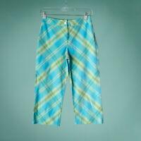 St John Size 2 Pants Blue Plaid Linen Fashion Fit Crop Capri Ankle Spring Summer
