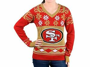 Klew NFL Women's V-Neck Sweater, San Francisco 49ers, X-Large, Christmas
