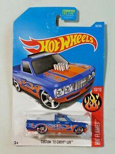 Hot Wheels Flames 10/10 Custom '72 Chevy LUV Pickup Blue Orange Flames NEW 2017