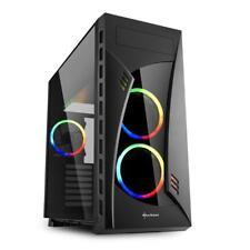 PC Gehäuse Midi Tower, Sharkoon Night Shark, RGB-Lüfter ATX Glasfenster, schwarz