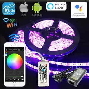 1M-10M RGB 5050 LED Selbstklebend Strip Wifi Controller Alexa Echo Google IFTTT