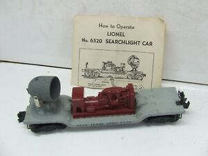 LIONEL 6520 SEARSCLIGHT CAR W/MAROON GENERATOR AND PAPER WORK