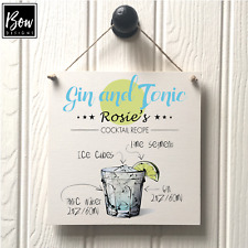 GIN Plaque SIGN Personalised Friend House warming Gift - COCKTAIL RECIPE SIGN