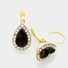 BLACK clear crystal trim druzy tear drop pin catch fashion earring e 6