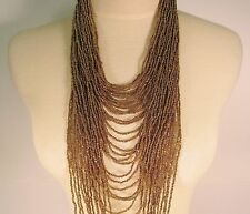 "45"" VERY LONG MultiStrand Handmade Gold Color Bohemian Style Seed Bead Necklace"