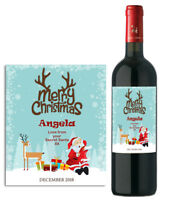 PERSONALISED WINE BOTTLE LABEL STICKER MERRY CHRISTMAS STOCKING FILLER GIFT BX01