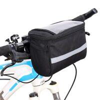 Black Reflective Cycling Basket Handlebar Bag Outdoor Bicycle Front Pack