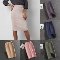 Women Dress Split Suede Pencil Skirt High Waisted Stretch Midi Length Solid
