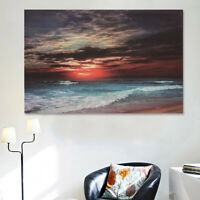 Modern Framed Sunset Seascape Beach Canvas Print Art Painting Picture Home  UU