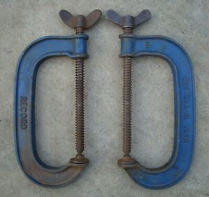 """2 x RECORD STANDARD SERIES 6"""" G CLAMPS IN GOOD USED CONDITION ~ 1970's"""