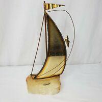 Vintage MCM Brass Sailboat Sculpture Artist John DeMott Marble Base Signed