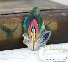 4pcs Vintage Feather Handmade Wood Wooden Charms / Pendants HW030C