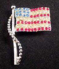 Vintage Dodds Signed Red White Blue Rhinestone American Flag Brooch Silver Tone