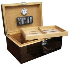 The Princeton Ebony 130 Cigar Humidor Case with Humidifier & Hygrometer