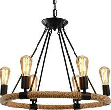 Hemp Rope Style Pendant Light, 6 Lights Retro Industrial Chandelier Metal Island