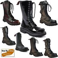 ANGRY ITCH Combat Army Ranger 14 Hole Leather Punk Boots Steel Toe Shoes