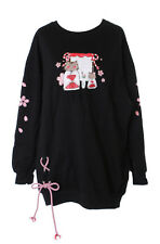 TS-138 schwarz Japan Tempel Katze Good Luck Cat Langarm Shirt Kawaii Pullover