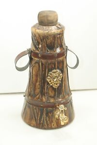"Vintage 12-1/2"" ITALY Leather Look Wrap DECANTER Gold LION CREST w Stopper & TAP"