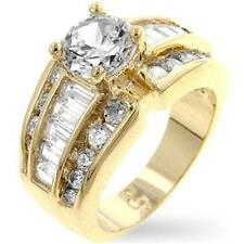 18K GOLD EP 5.1CT SIMULATED DIAMOND ENGAGEMENT RING size 7 or O