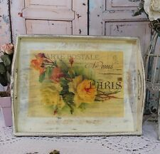 "~ Vintage ~ Shabby Chic Wooden ~ Decorative ~ Serving ~ Tray ~ ""Carte Postale"" ~"