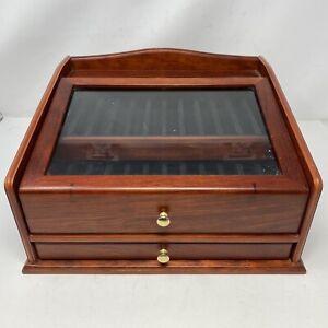 Vintage Decorative Collectible See Through Wooden Pen Case Box Rack
