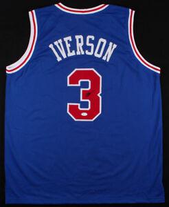 Allen Iverson Signed Philadelphia 76ers Blue Jersey #1 Pick 1996 NBA Draft / JSA