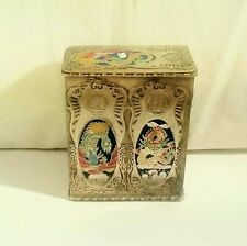 Vintage Chinese Metal Hairpin Box w/ Cloisonne Enamel Phoenix & Dragon Designs