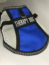 """New listing Therapy Dog Service Mesh Vest Small Pet Harness Blue Light weight 12""""-17"""""""
