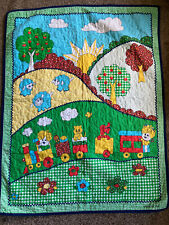 """~Vintage That's Our Baby crib quilt blanket lambs train 33""""x42"""" gingham"""