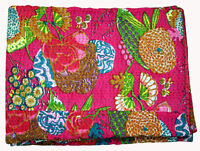 Indian Handmade Cotton Leaf Bedcover Twin Size Vintage Kantha Quilt Blanket