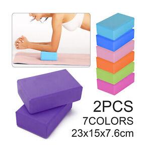 2 Yoga Block Fitness Foam Yoga Brick Pilates Balance Stretching Exercise Workout