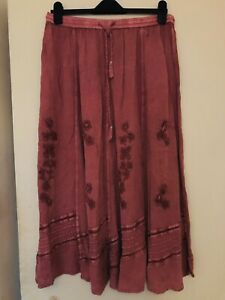 Beautiful Vintage 90's Long Skirt Dusty Pink Size M Y2k Hippie Indian