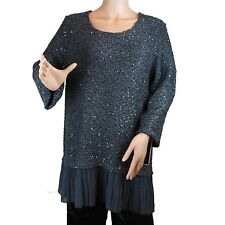 Women Fashion Sweater Alfani Missy Top Dark Grey Sparkle Glitter L New