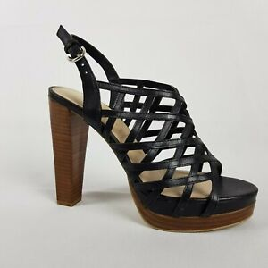 Zoe Wittner Womens Shoes Size 39 Black Strappy Platform Stiletto Brown Heels