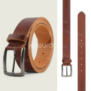 Genuine Leather Belts Mens Fashion Real Trouser With Anti Nickel Buckle Brown UK
