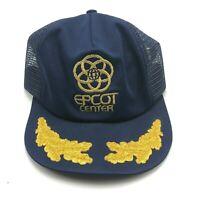 Vintage Epcot Center Walt Disney Hat Cap Snapback Blue Scrambled Eggs Mesh Back