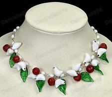 BIRDS&LEAVES wine fruit WHITE murano GLASS BEAD NECKLACE vintage beads bird&leaf