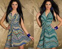 Miniabito  Vestito Donna Vestitino Abito FASHION & ELLE Azzurro B515 Tg L