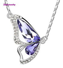 White Gold Filled Amethyst Butterfly Necklace Made With Swarovski Crystal N100