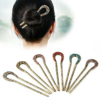 Vintage Metal Rhinestone U Shape Traditional Hair Stick Hairpin Hair Chignon Pin