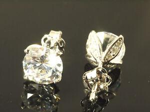 375 Gold Ohrstecker 1 Paar 6,5 mm Grösse mit 26 Zirkonia Steinen 4 Krappen