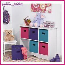S Wood Toy Storage Cabinet Cubby W Bins Toys Organizer Cubbies White Pink