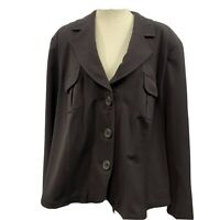 Lane Bryant Womans Button Up Blazer Jacket Brown Plus Size 24 Long Sleeves