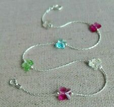 ANKLET 925 Sterling Silver Summer colours Crystal Butterfly Ankle Bracelet