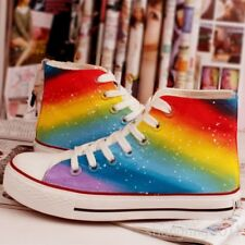 Shop6 Women's High Top Lace Up Rainbow Canvas Trainers Sports Sneakers Shoes Hot